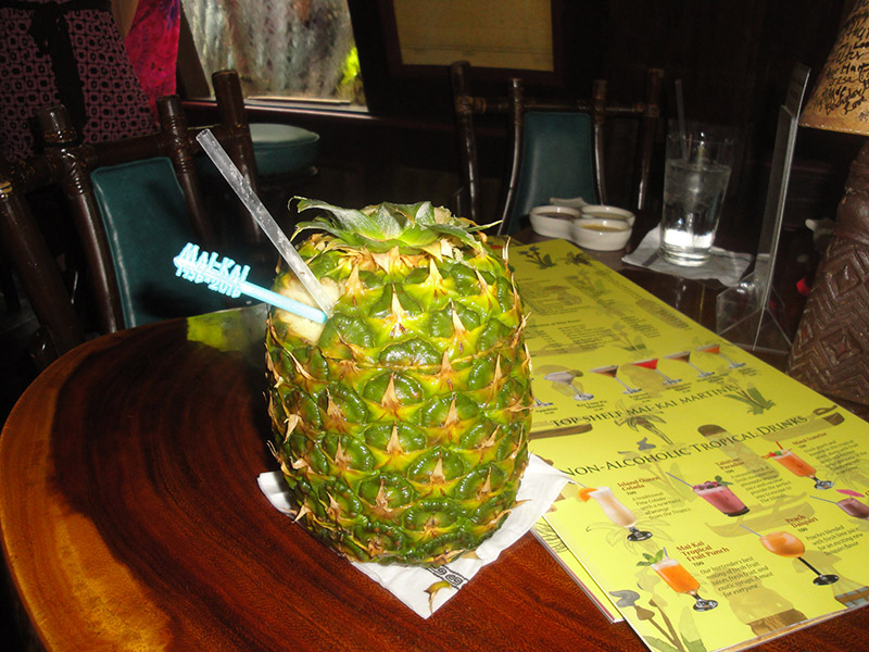 The Mai-Kai's Piña Passion, served in The Molokai bar in June 2016 with a 60th anniversary swizzle stick. (Photo by Hurricane Hayward)