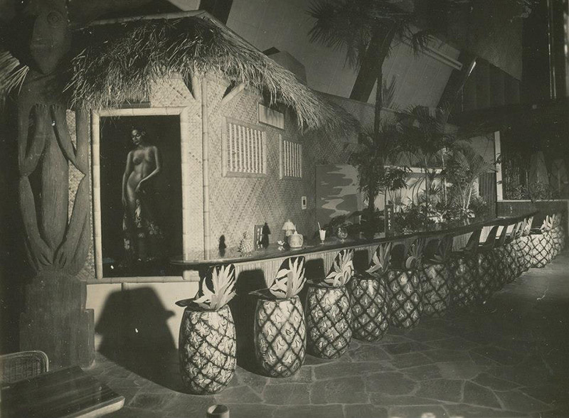 In the 1950s and '60s, guests at The Mai-Kai were welcomed in the Surfboard Bar and seated on pineapple barstools. (MaiKaiHistory.com)