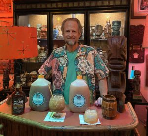 Hurricane Hayward with his Gallons to Go of the Black Magic and Rum Barrel from The Mai-Kai, April 2020. (Atomic Grog photo)