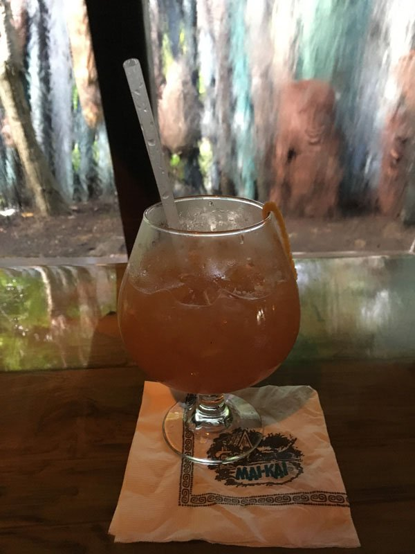 The Black Magic is served in The Molokai bar in October 2016. It's not really raining. That's The Mai-Kai's special windows that simulate a calming tropical downpour. (Photo by Hurricane Hayward)