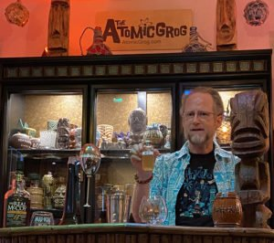 Hurricane Hayward demonstrates how to make the Black Magic tribute, version 3.0, during an online symposium hosted by the authors of Mai-Kai: History and Mystery of the Iconic Tiki Restaurant, Tim Glazner and Stephanie Romer. (Atomic Grog photo)