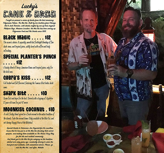Hurricane Hayward (left) with Lucky Munro in The Molokai bar at The Mai-Kai in September 2017.