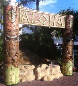 A poolside fountain at the Best Western has been transformed into a Tiki paradise for Hukilau 2012