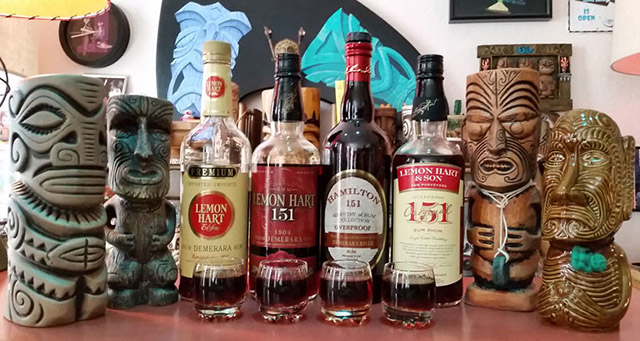 "The pantheon of 21st century 151 Demerara rums: It's not a stretch to say the current two labels on the right may not have been possible without the success of the short-lived ""red label"" Lemon Hart in 2011-2014. (Atomic Grog photo, September 2016)"