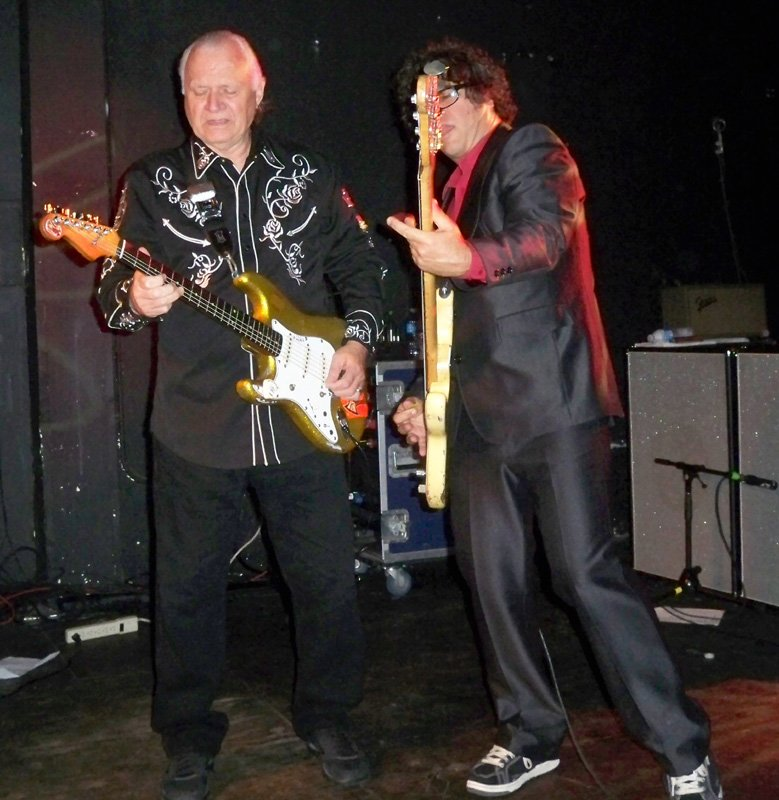 Dick Dale with bassist Sam Bolle at Respectable Street in West Palm Beach, April 21, 2012.