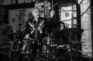 Dick Dale with son Jimmy Dale on drums at Churchill's Pub in Miami, April 22, 2012