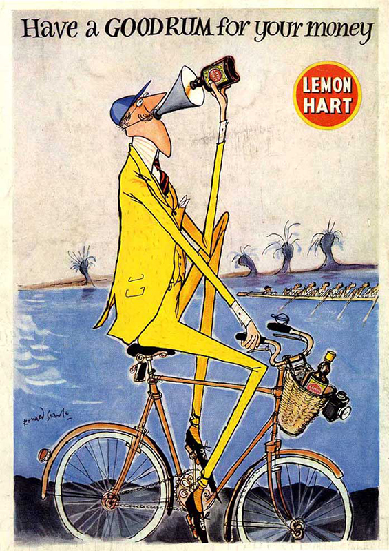 A classic mid-century Lemon Hart ad by acclaimed British artist Ronald Searle.