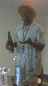 Ian Burrell serves up Havana Club rum during his seminar on the Pina Colada at the 2012 Miami Rum Festival