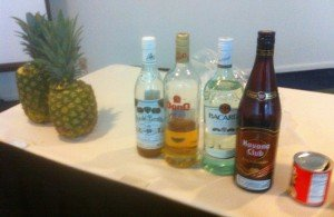 Fresh pineapples and four different rums were included in the Pina Colada history lesson