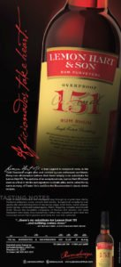 An ad for the new Lemon Hart 151 rum, which is returning to its traditional yellow label after several years off the market in the United States.