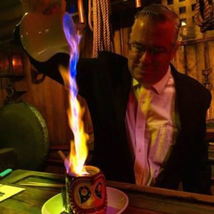 The Mai-Kai's Ralph Meyer, captain of The Molokai bar, pours a flaming Kona Coffee Grog using 151 Demerara rum in a 2016 photo posted on Facebook.