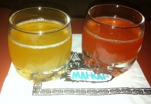 Samples of the Tahitian Breeze tribute with grenadine (left) and fassionola (right)