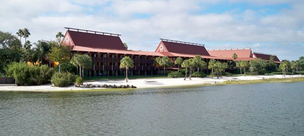 A view from Seven Seas Lagoon of the beachfront longhouses at Disney's Polynesian Resort