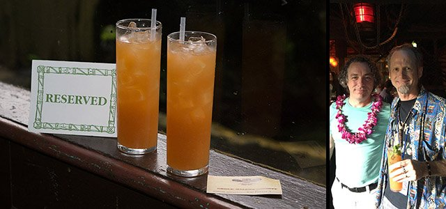 At The Hukilau 2018, students from The Atomic Grog cocktail class not only received the exclusive Big Bamboo, which was being served to the public for the first time since the late 1950s. They earned their own Okole Maluna Society card and a free tour of the restaurant's historic art and architecture from author Swanky himself (pictured with Hurricane Hayward in The Molokai bar)