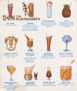A vintage Don the Beachcomber menu