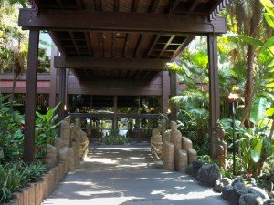 The entrance to the Great Ceremonial House at Disney's Polynesian Resort
