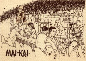"The special mugs for members of the Okole Maluna Society can see seen in this vintage artwork of The Mai-Kai's Surfboard Bar, which was later replaced by a dining area. (Courtesy of Tim ""Swanky"" Glazner, SwankPad.org)"