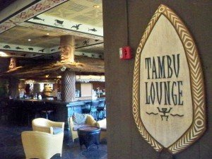 The Tambu Lounge on the second floor of the Great Ceremonial House at Disney's Polynesian Resort