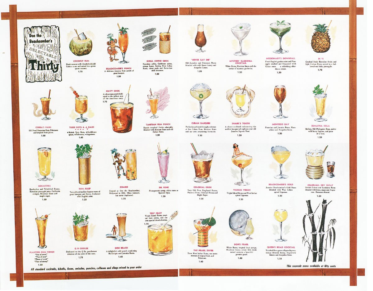 Don the Beachcomber menu, from Hawai'i - Tropical Rum Drinks & Cuisine