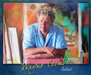 A postcard promoting Wayne Coombs, the artist