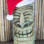 This happy Tiki has the holiday spirit in December 2009.
