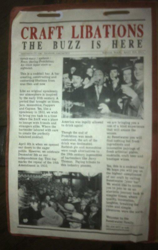 The Prohibition-era theme carries through to the menu.
