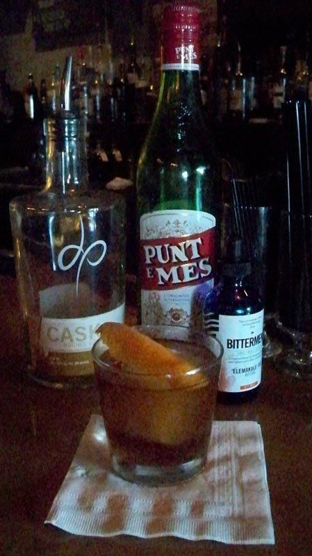 The garnished Hotel Delray, Iglehart's version of a rum Manhattan.