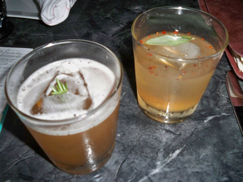 Several of the tequila drinks are enhanced by fresh, fragrant herbs. The Spanish Inquisition (right) features sage while the Rosarita is garnished with rosemary.