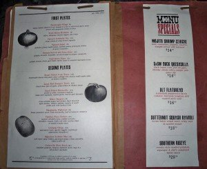 Sweetwater's food menu from July 21, 2012.