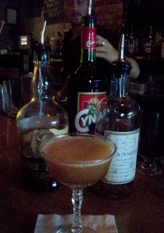 Oregon Trail includes both gin and whiskey, plus fig jam and Cynar, an Italian bitter liqueur similar to Campari.