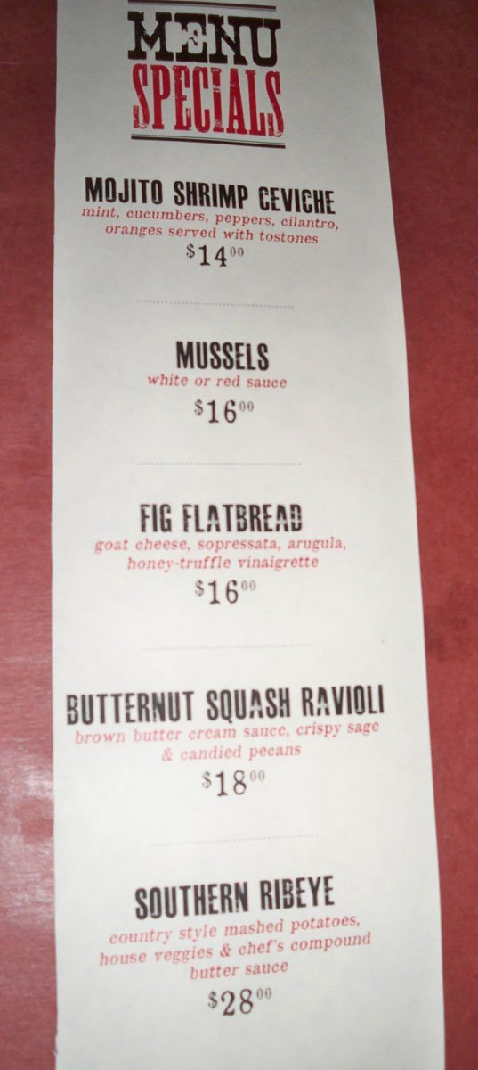 The menu specials from July 28, 2012.