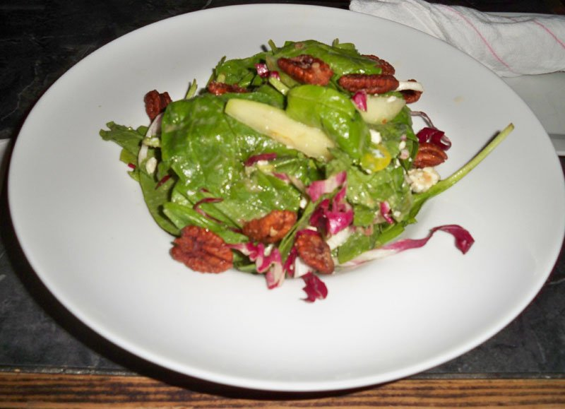 The Spinach Salad included radicchio, Granny Smith apples, candied pecans, Gorgonzola cheese and apple vinaigrette.
