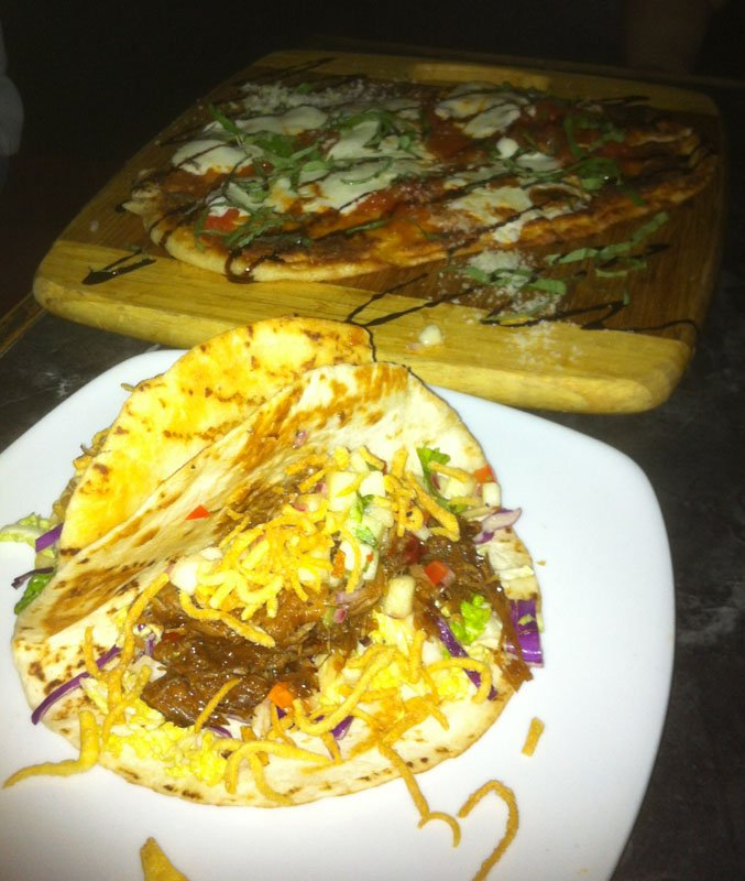 The Korean BBQ Tacos and Margherita Flatbread were perfect for sharing.