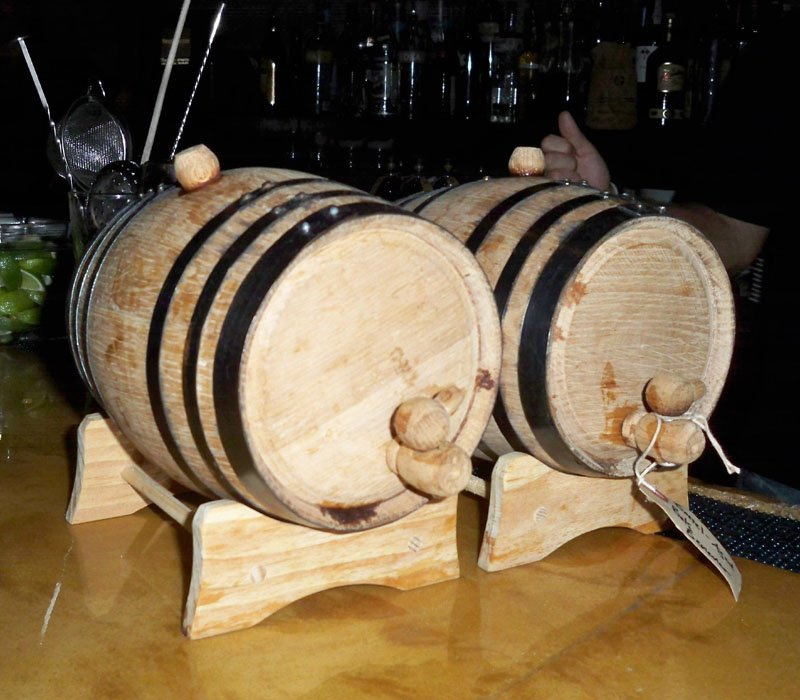Baby Hudson whiskey barrels are used to make aged cocktails.