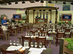 Final preparations are made for a wine seminar in October 2011