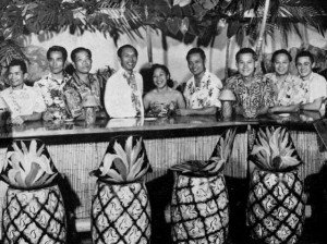 Head mixologist Mariano Licudine (fourth from the right) and other Mai-Kai staff in the Surfboard Bar, circa 1956