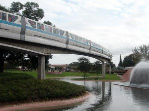 The monorail glides through Future World in December 2009.