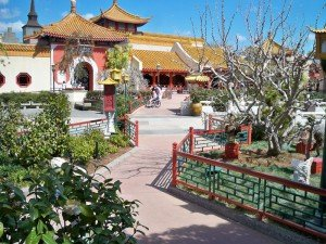 A scenic view of China at Epcot's World Showcase.