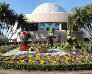 A topiary of Mickey, Minnie and Pluto at the Epcot International Flower and Garden Festival