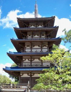 The towering pagoda at the Japan Pavilion.