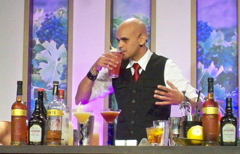 Freddy Diaz tastes his handiwork during his cocktail seminar in Epcot's Festival Center.