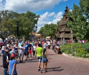 Crowds walk the World Showcase promenade near the Norway pavilion at last year's Food and Wine Festival