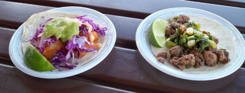 The Crispy Shrimp Taco (left) and Taco de Filete in Mexico.