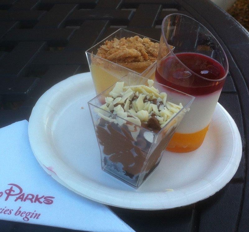 The Desserts and Champagne booth's Dessert Trio: Dark Chocolate Mousse (front), Yogurt Panna Cotta (right) and Lemon Custard Verrine.