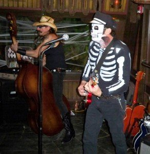 Marvin Ray Hawkins (bass) and Slip Mahoney (guitar) kept Slip and the Spinouts rocking as the party passed the six-hour mark. Another successful Hulaween! (Atomic Grog photo)