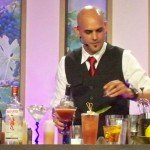 After finishing the Blood Orange & Sand (left), Freddy Diaz begins work on his final cocktail of the seminar