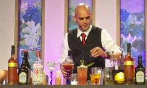 Freddy Diaz of AlambiQ Mixology in Miami shakes up a craft cocktail during a seminar at the 2012 Epcot Food and Wine Festival