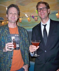 Hurricane Hayward (left) and Skinny Jimmy (from South Florida surf band Skinny Jimmy and the Stingrays) enjoy cocktails in the Airstream trailer behind Hullabaloo