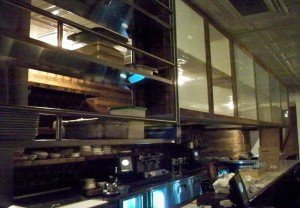 A view of the kitchen and bar area at Hullabaloo 10 days before the grand opening