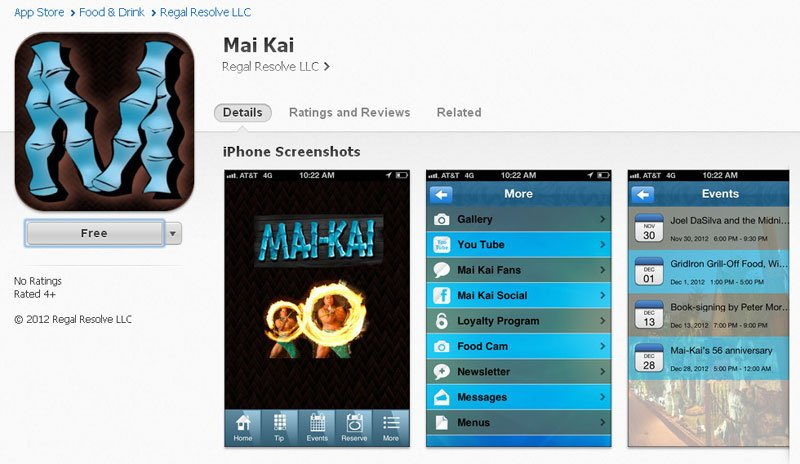 The Mai-Kai app in the iTunes store